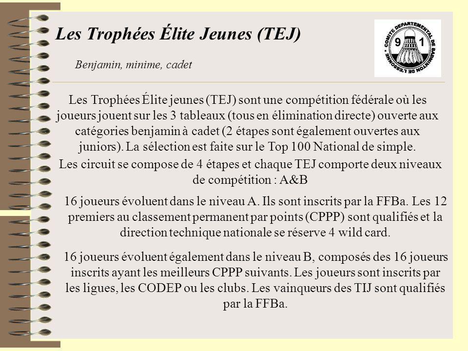 Les Trophées Élite Jeunes (TEJ) Benjamin, minime, cadet Les Trophées Élite jeunes (TEJ) sont une compétition fédérale où les joueurs jouent sur les 3