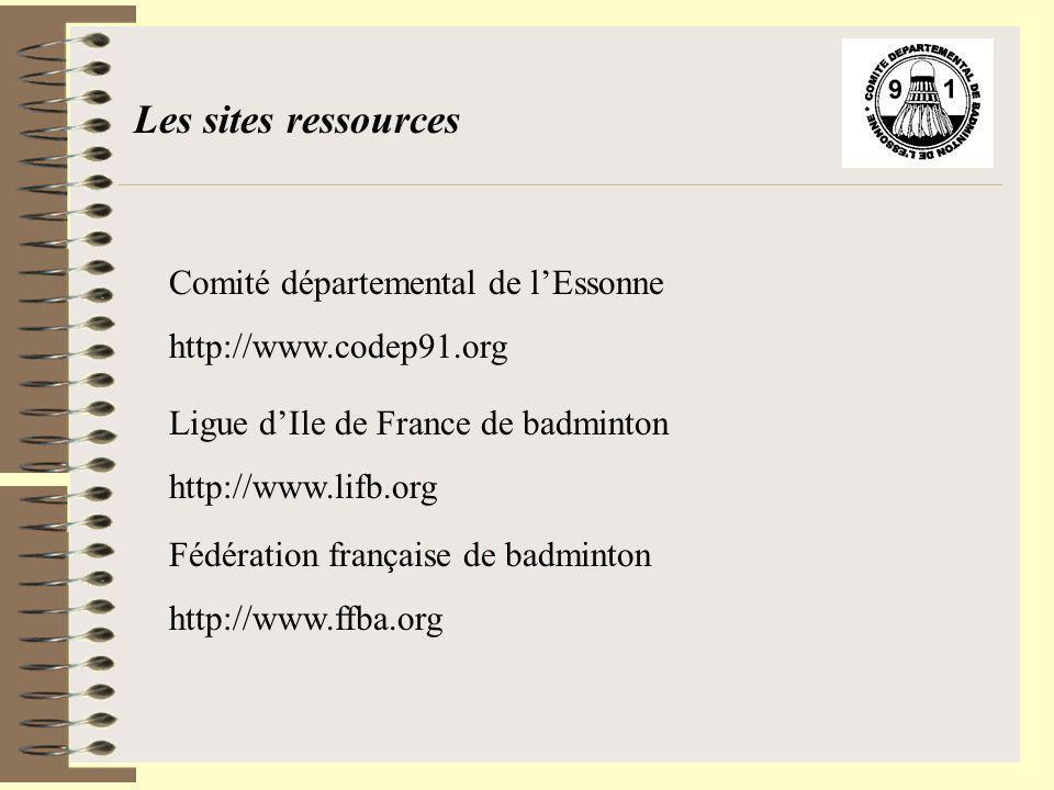 Les sites ressources Comité départemental de lEssonne http://www.codep91.org Ligue dIle de France de badminton http://www.lifb.org Fédération français