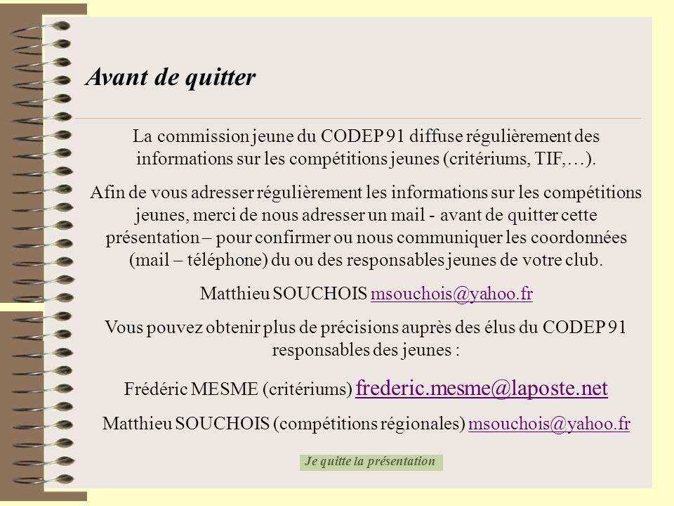 Avant de quitter La commission jeune du CODEP 91 diffuse régulièrement des informations sur les compétitions jeunes (critériums, TIF,…). Afin de vous