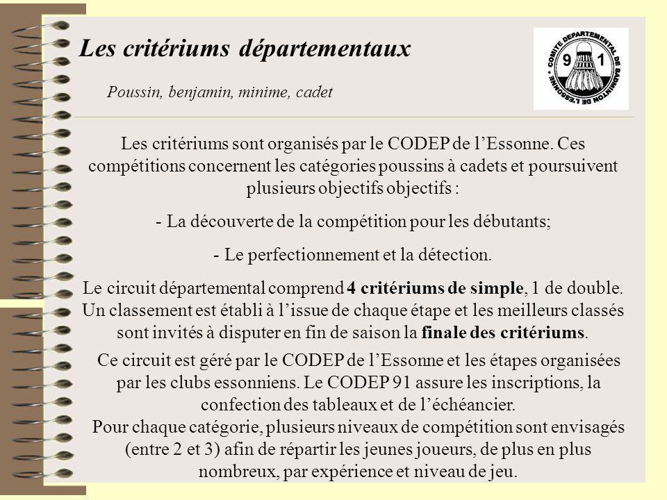 Les critériums sont organisés par le CODEP de lEssonne. Ces compétitions concernent les catégories poussins à cadets et poursuivent plusieurs objectif