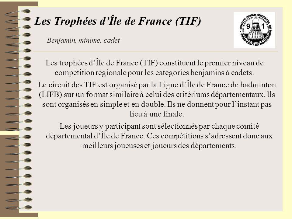 Les trophées dÎle de France (TIF) constituent le premier niveau de compétition régionale pour les catégories benjamins à cadets. Les Trophées dÎle de
