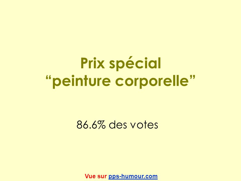Prix spécial peinture corporelle 86.6% des votes Vue sur pps-humour.compps-humour.com