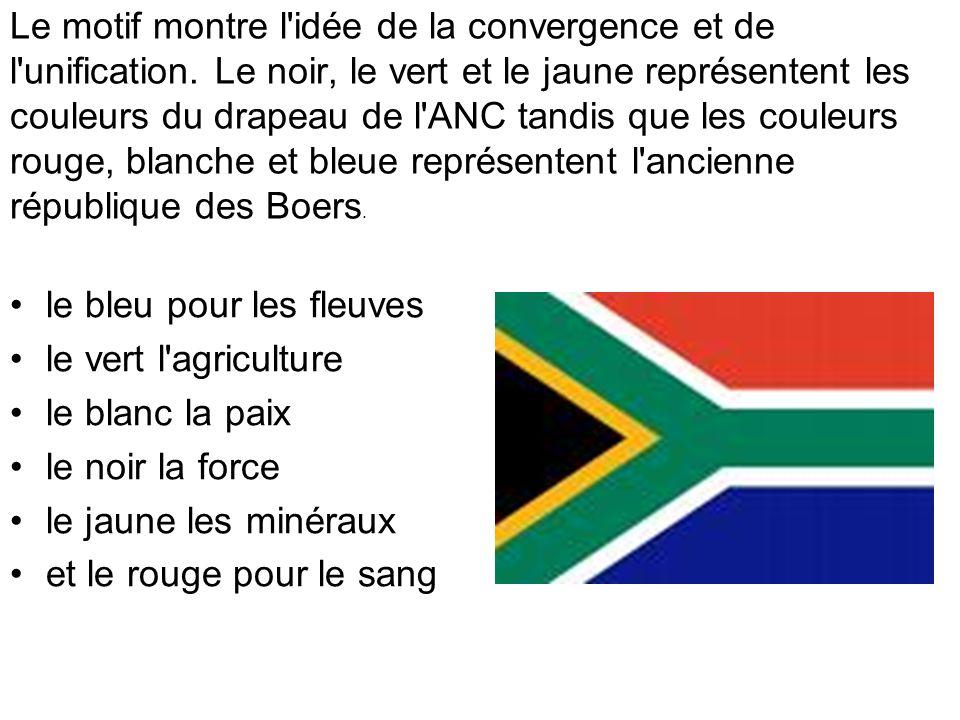 Le motif montre l'idée de la convergence et de l'unification. Le noir, le vert et le jaune représentent les couleurs du drapeau de l'ANC tandis que le