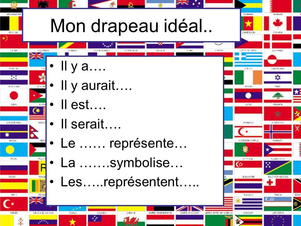 Mon drapeau idéal.. Il y a…. Il y aurait…. Il est…. Il serait…. Le …… représente… La …….symbolise… Les…..représentent…..