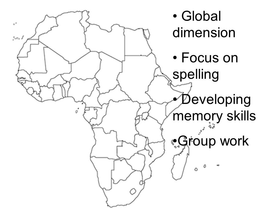 Global dimension Focus on spelling Developing memory skills Group work