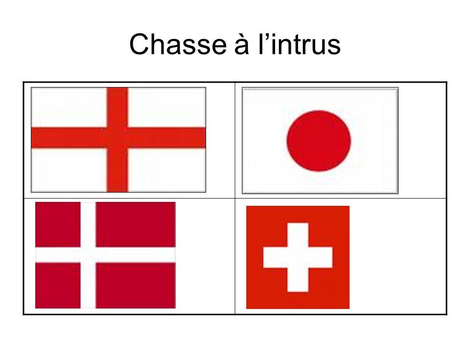 Le drapeau suisse est lintrus parce que… Cest le drapeau japonais parce que….