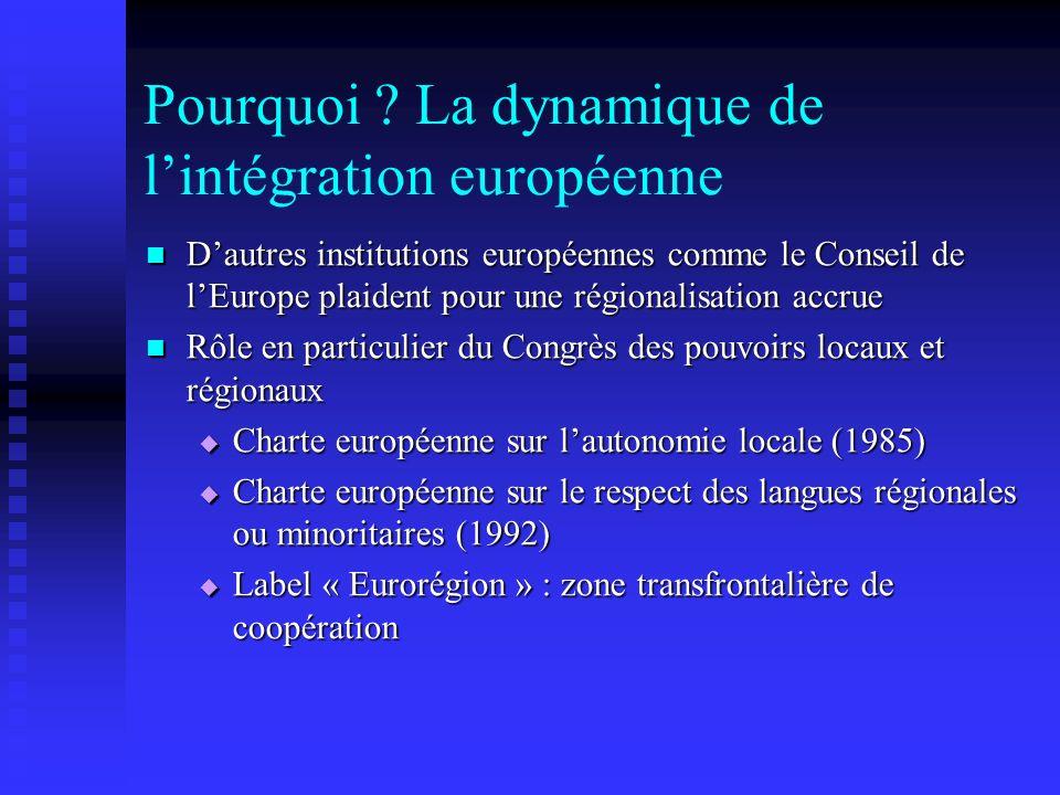 Pourquoi ? La dynamique de lintégration européenne Dautres institutions européennes comme le Conseil de lEurope plaident pour une régionalisation accr