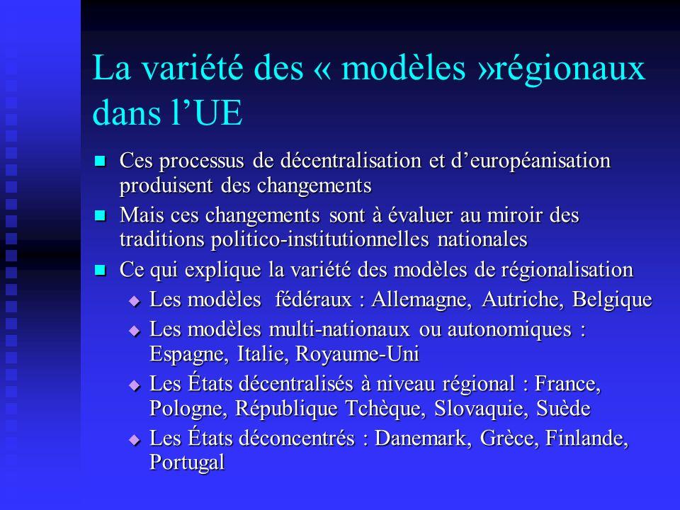 La variété des « modèles »régionaux dans lUE Ces processus de décentralisation et deuropéanisation produisent des changements Ces processus de décentr