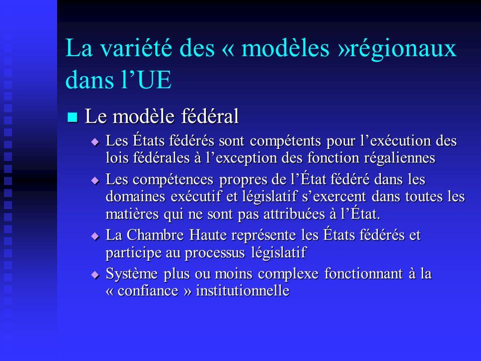 La variété des « modèles »régionaux dans lUE Le modèle fédéral Le modèle fédéral Les États fédérés sont compétents pour lexécution des lois fédérales