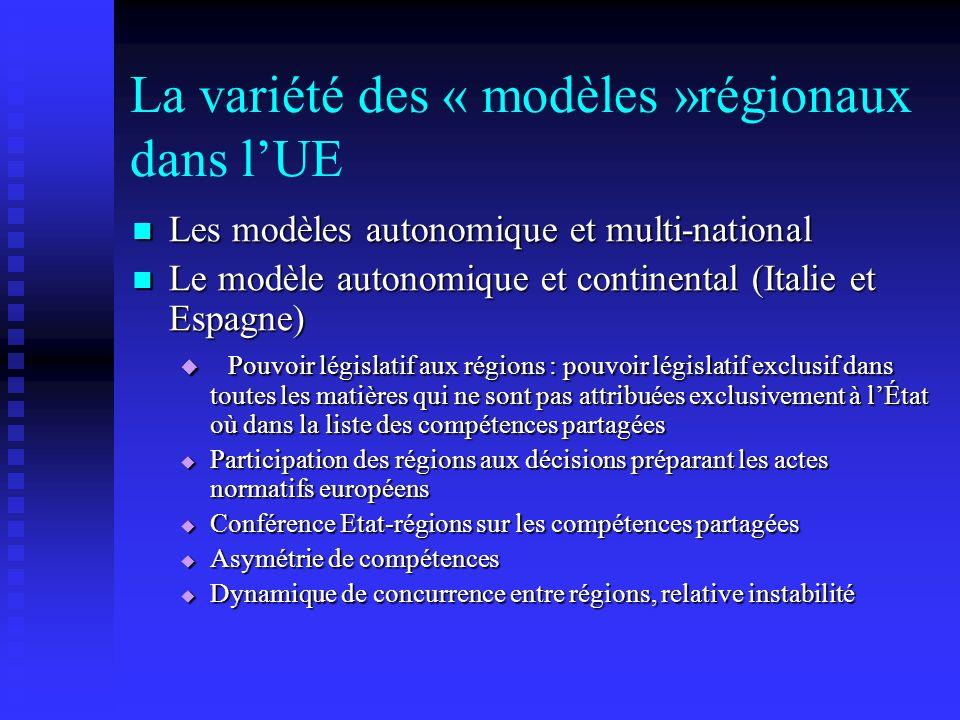 La variété des « modèles »régionaux dans lUE Les modèles autonomique et multi-national Les modèles autonomique et multi-national Le modèle autonomique