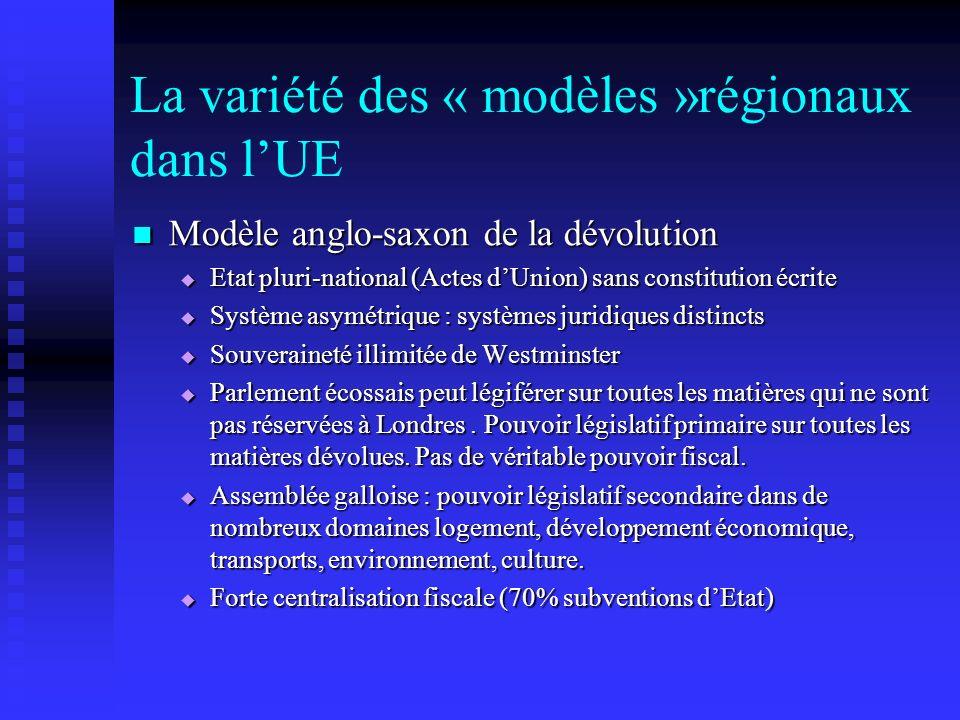 La variété des « modèles »régionaux dans lUE Modèle anglo-saxon de la dévolution Modèle anglo-saxon de la dévolution Etat pluri-national (Actes dUnion