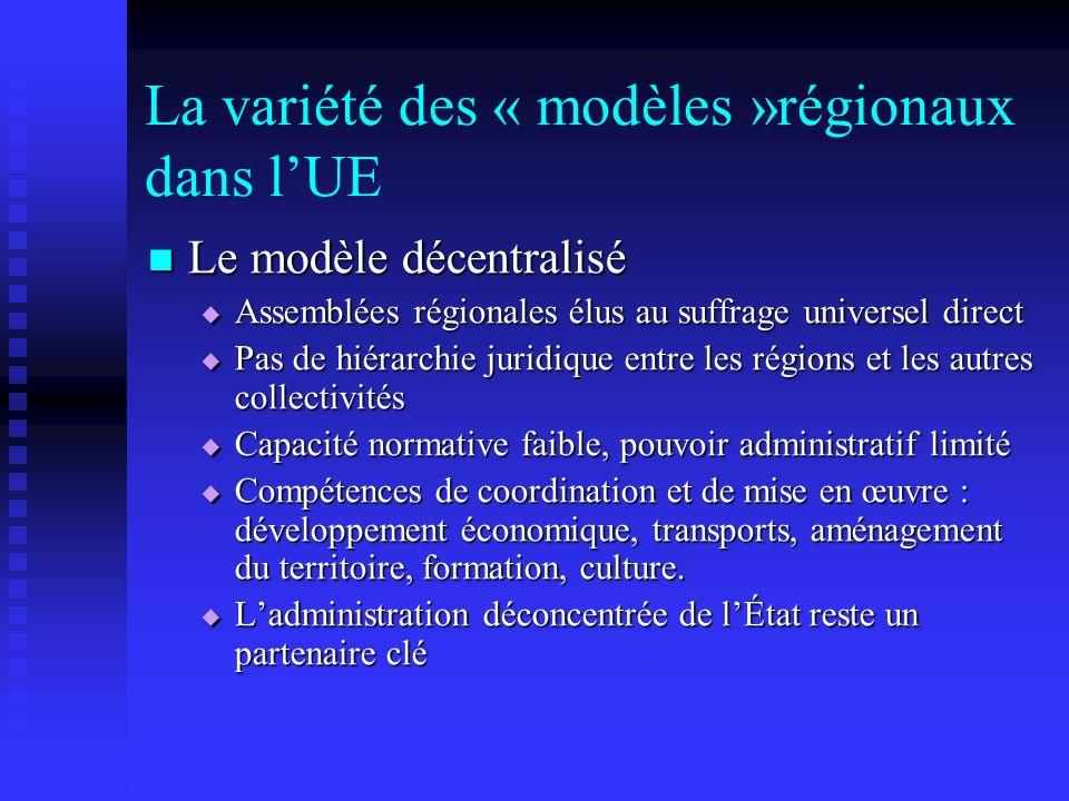 La variété des « modèles »régionaux dans lUE Le modèle décentralisé Le modèle décentralisé Assemblées régionales élus au suffrage universel direct Ass
