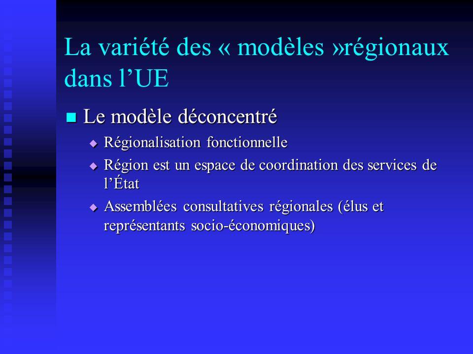 La variété des « modèles »régionaux dans lUE Le modèle déconcentré Le modèle déconcentré Régionalisation fonctionnelle Régionalisation fonctionnelle R