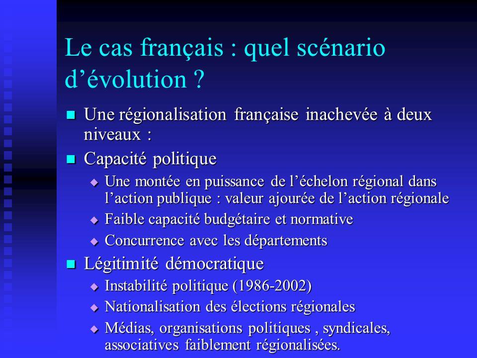 Le cas français : quel scénario dévolution ? Une régionalisation française inachevée à deux niveaux : Une régionalisation française inachevée à deux n