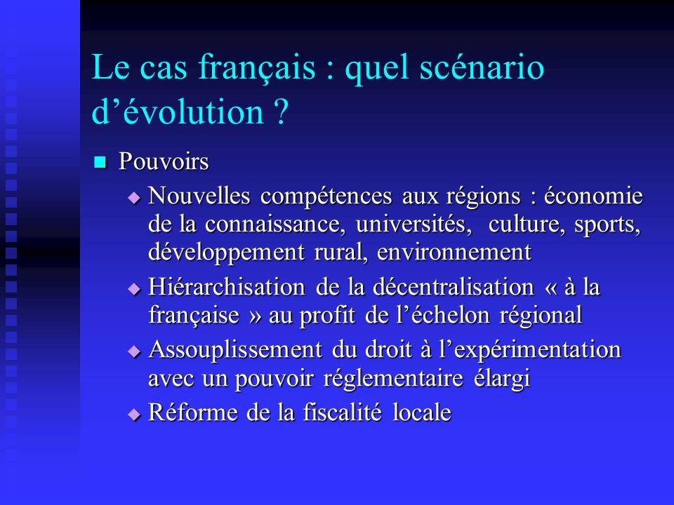 Le cas français : quel scénario dévolution ? Pouvoirs Pouvoirs Nouvelles compétences aux régions : économie de la connaissance, universités, culture,