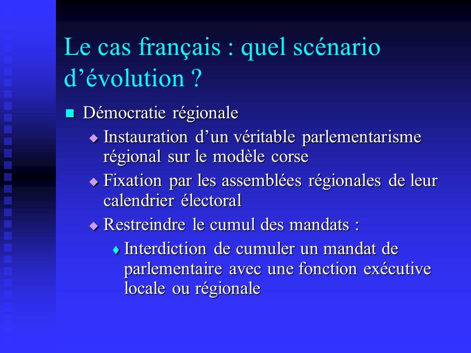 Le cas français : quel scénario dévolution ? Démocratie régionale Démocratie régionale Instauration dun véritable parlementarisme régional sur le modè