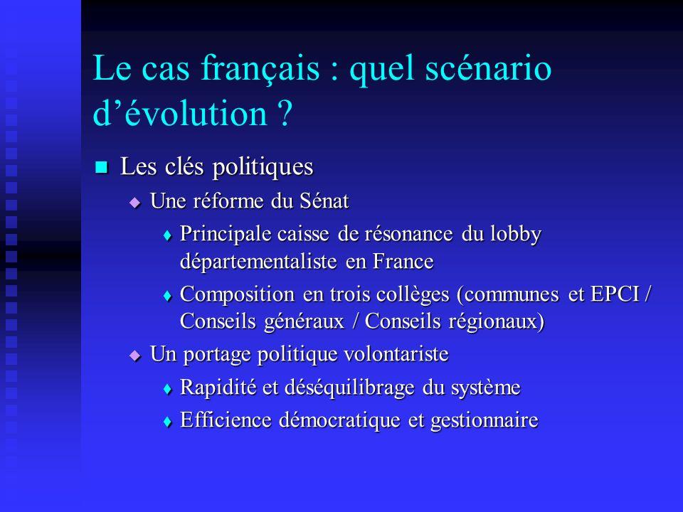 Le cas français : quel scénario dévolution ? Les clés politiques Les clés politiques Une réforme du Sénat Une réforme du Sénat Principale caisse de ré