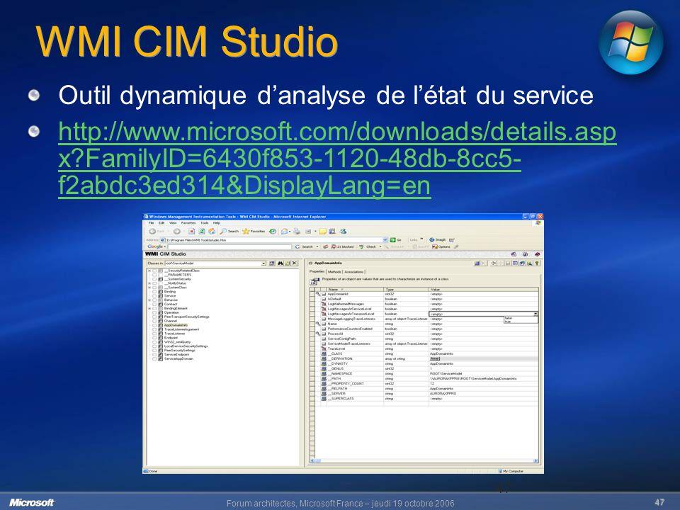 Forum architectes, Microsoft France – jeudi 19 octobre 2006 47 47 WMI CIM Studio Outil dynamique danalyse de létat du service http://www.microsoft.com/downloads/details.asp x FamilyID=6430f853-1120-48db-8cc5- f2abdc3ed314&DisplayLang=en
