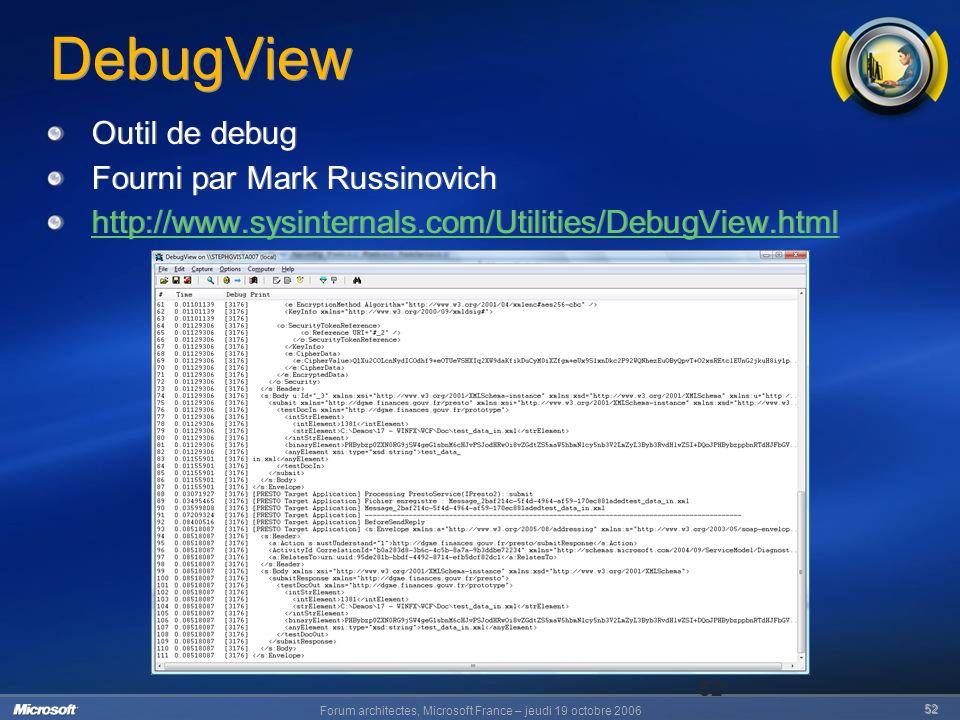 Forum architectes, Microsoft France – jeudi 19 octobre 2006 52 52 DebugView Outil de debug Fourni par Mark Russinovich http://www.sysinternals.com/Utilities/DebugView.html Outil de debug Fourni par Mark Russinovich http://www.sysinternals.com/Utilities/DebugView.html