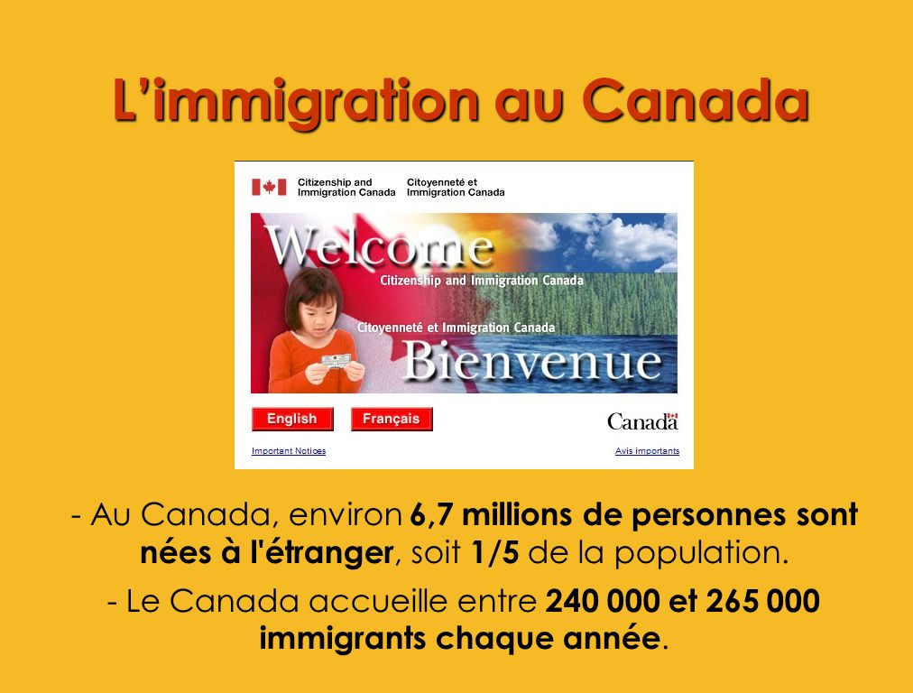 Limmigration au Canada - Au Canada, environ 6,7 millions de personnes sont nées à l'étranger, soit 1/5 de la population. - Le Canada accueille entre 2