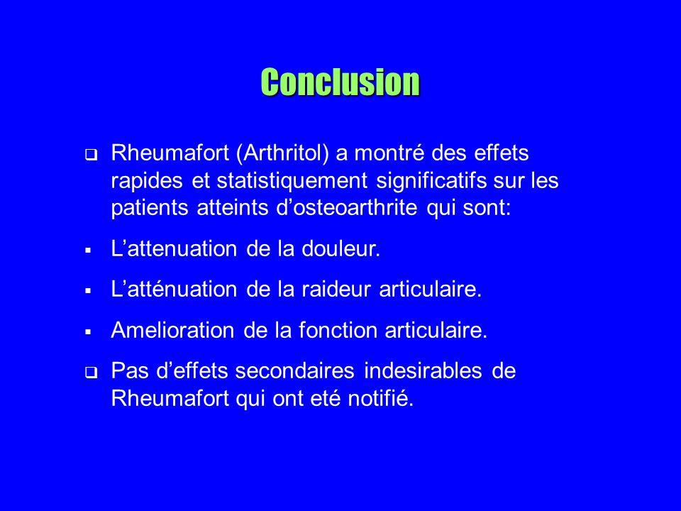 Conclusion Rheumafort (Arthritol) a montré des effets rapides et statistiquement significatifs sur les patients atteints dosteoarthrite qui sont: Lattenuation de la douleur.