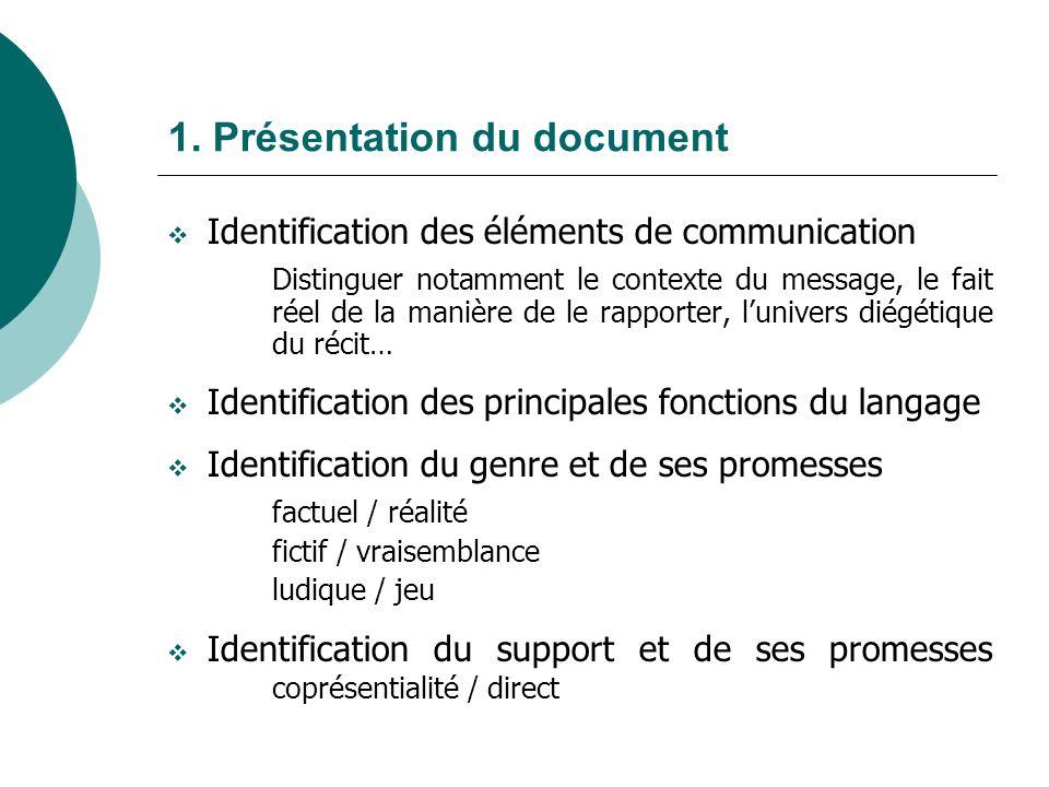 1. Présentation du document Identification des éléments de communication Distinguer notamment le contexte du message, le fait réel de la manière de le