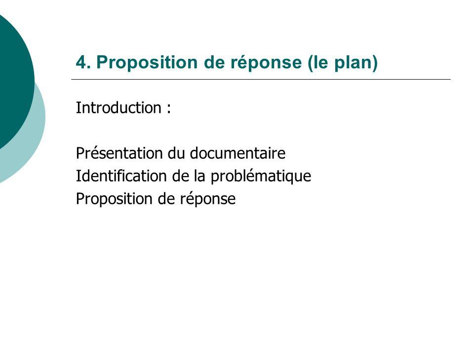 4. Proposition de réponse (le plan) Introduction : Présentation du documentaire Identification de la problématique Proposition de réponse