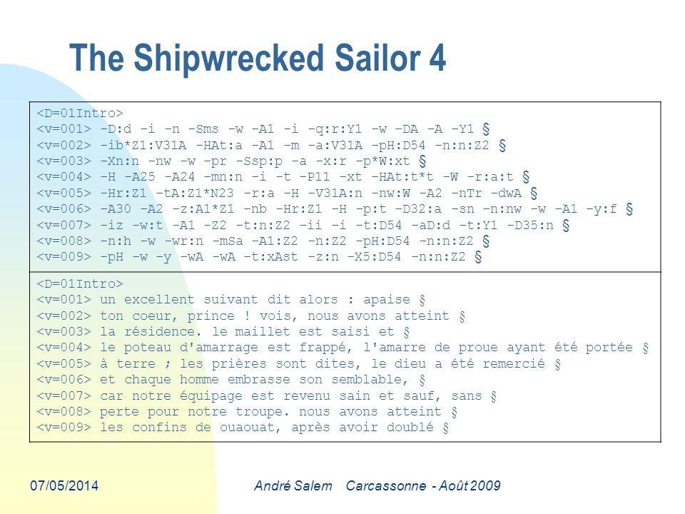 07/05/2014André Salem Carcassonne - Août 2009 The Shipwrecked Sailor 4 -D:d -i -n -Sms -w -A1 -i -q:r:Y1 -w -DA -A -Y1 § -ib*Z1:V31A -HAt:a -A1 -m -a:V31A -pH:D54 -n:n:Z2 § -Xn:n -nw -w -pr -Ssp:p -a -x:r -p*W:xt § -H -A25 -A24 -mn:n -i -t -P11 -xt -HAt:t*t -W -r:a:t § -Hr:Z1 -tA:Z1*N23 -r:a -H -V31A:n -nw:W -A2 -nTr -dwA § -A30 -A2 -z:A1*Z1 -nb -Hr:Z1 -H -p:t -D32:a -sn -n:nw -w -A1 -y:f § -iz -w:t -A1 -Z2 -t:n:Z2 -ii -i -t:D54 -aD:d -t:Y1 -D35:n § -n:h -w -wr:n -mSa -A1:Z2 -n:Z2 -pH:D54 -n:n:Z2 § -pH -w -y -wA -wA -t:xAst -z:n -X5:D54 -n:n:Z2 § un excellent suivant dit alors : apaise § ton coeur, prince .