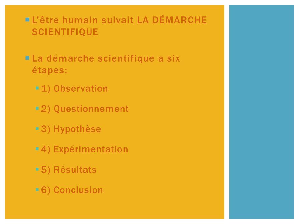 Lêtre humain suivait LA DÉMARCHE SCIENTIFIQUE La démarche scientifique a six étapes: 1) Observation 2) Questionnement 3) Hypothèse 4) Expérimentation 5) Résultats 6) Conclusion