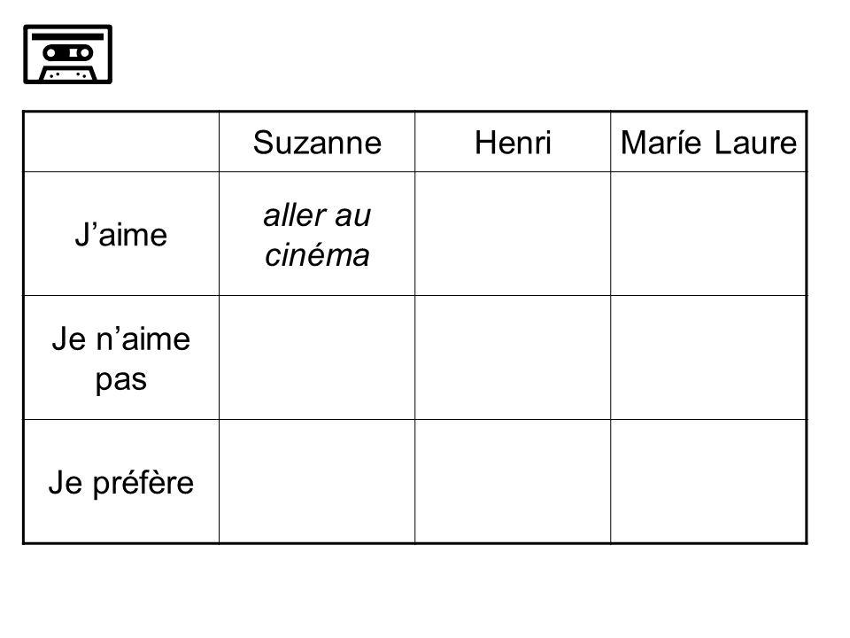 SuzanneHenriMaríe Laure Jaime aller au cinéma Je naime pas Je préfère