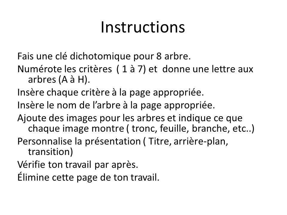 Instructions Fais une clé dichotomique pour 8 arbre. Numérote les critères ( 1 à 7) et donne une lettre aux arbres (A à H). Insère chaque critère à la