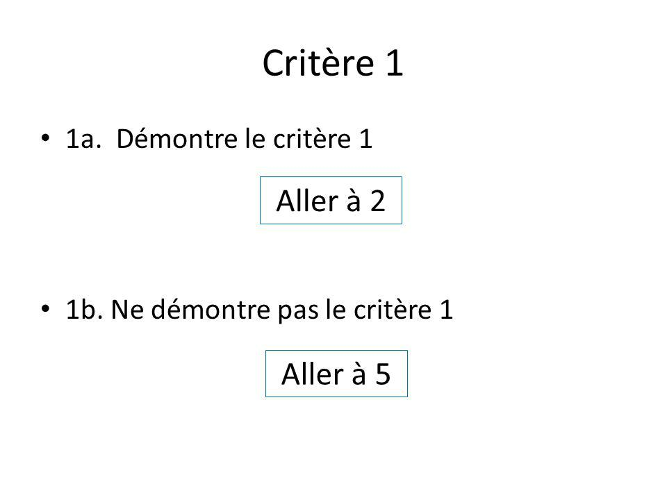 Critère 1 1a. Démontre le critère 1 1b. Ne démontre pas le critère 1 Aller à 2 Aller à 5