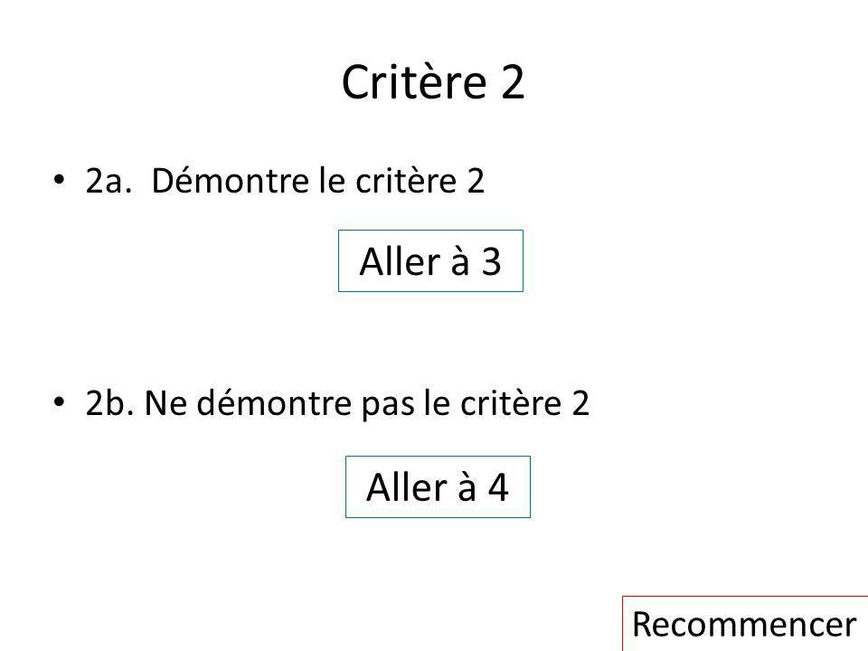 Critère 2 2a. Démontre le critère 2 2b. Ne démontre pas le critère 2 Aller à 3 Aller à 4 Recommencer