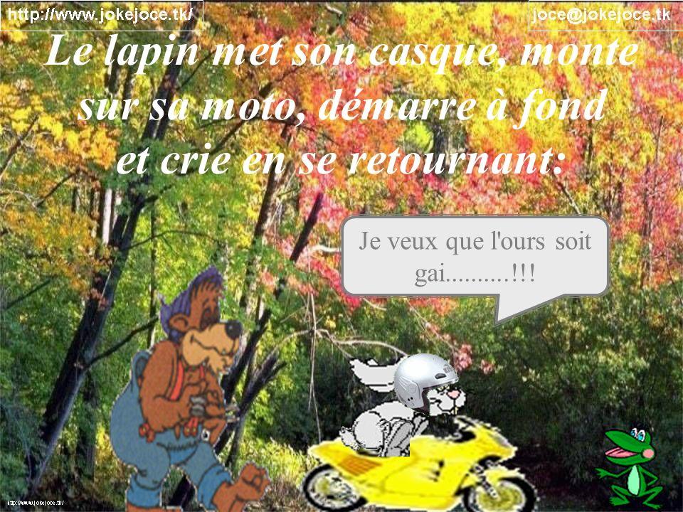 Je veux que l'ours soit gai..........!!! Le lapin met son casque, monte sur sa moto, démarre à fond et crie en se retournant: