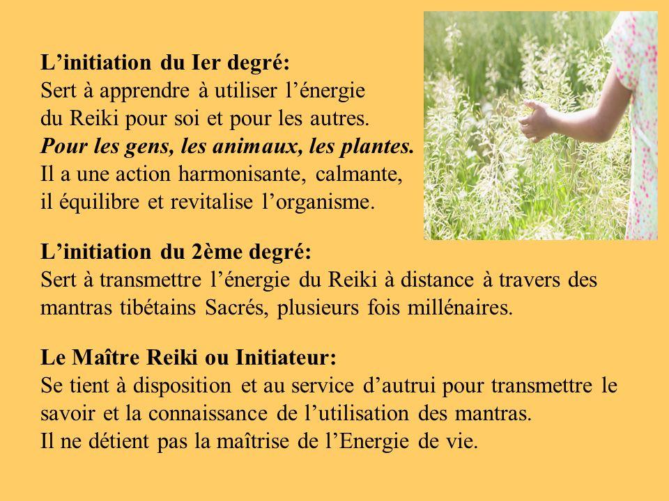 Linitiation du Ier degré: Sert à apprendre à utiliser lénergie du Reiki pour soi et pour les autres. Pour les gens, les animaux, les plantes. Il a une