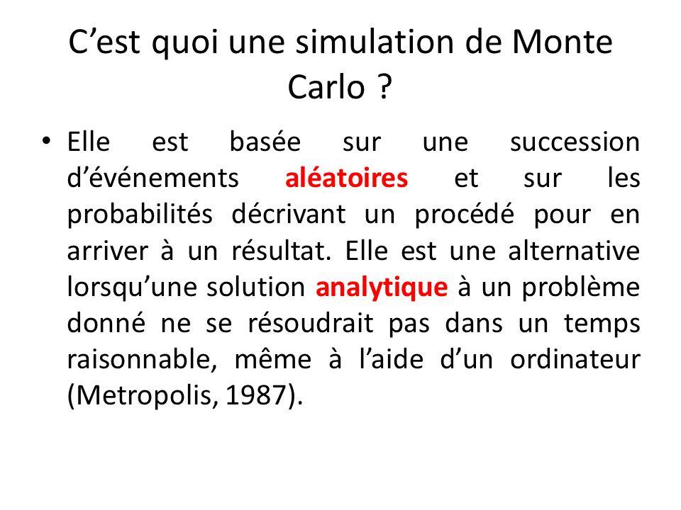 Cest quoi une simulation de Monte Carlo ? Elle est basée sur une succession dévénements aléatoires et sur les probabilités décrivant un procédé pour e
