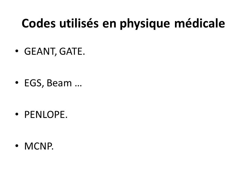 Codes utilisés en physique médicale GEANT, GATE. EGS, Beam … PENLOPE. MCNP.