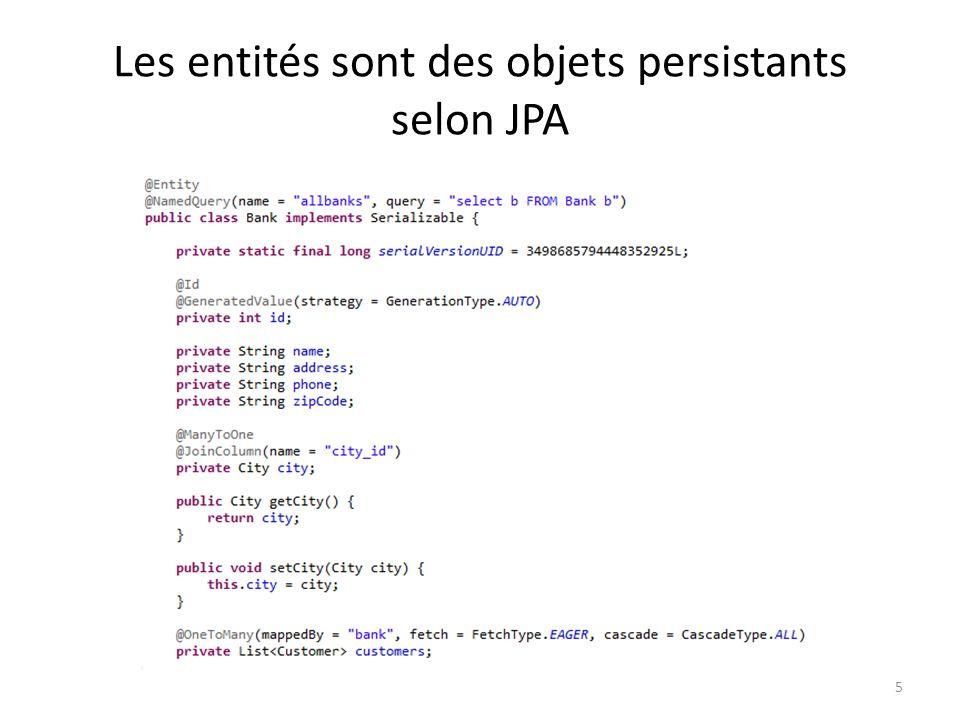 Les entités sont des objets persistants selon JPA 5