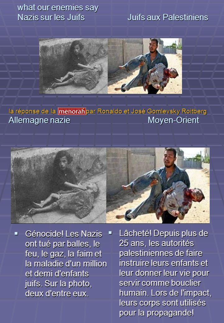 what our enemies say Nazis sur les Juifs Juifs aux Palestiniens Génocide! Les Nazis ont tué par balles, le feu, le gaz, la faim et la maladie d'un mil
