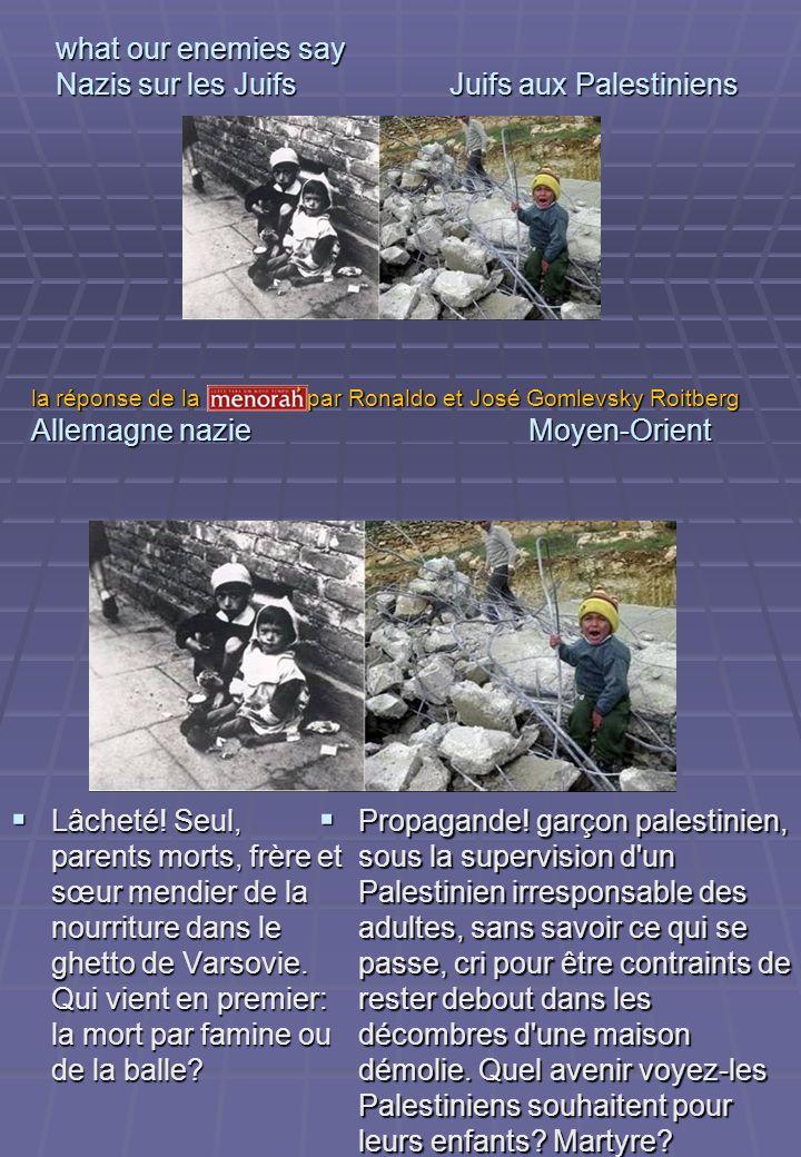 what our enemies say Nazis sur les Juifs Juifs aux Palestiniens Lâcheté! Seul, parents morts, frère et sœur mendier de la nourriture dans le ghetto de
