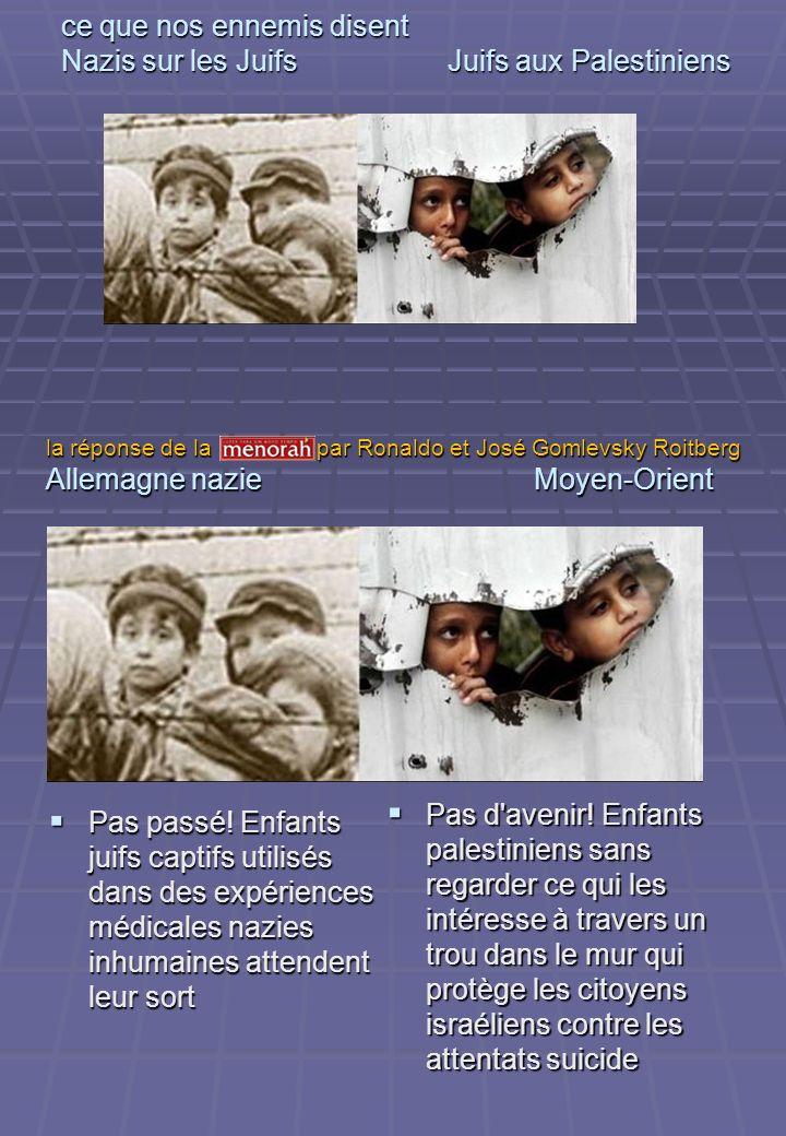 ce que nos ennemis disent Nazis sur les Juifs Juifs aux Palestiniens Pas passé! Enfants juifs captifs utilisés dans des expériences médicales nazies i