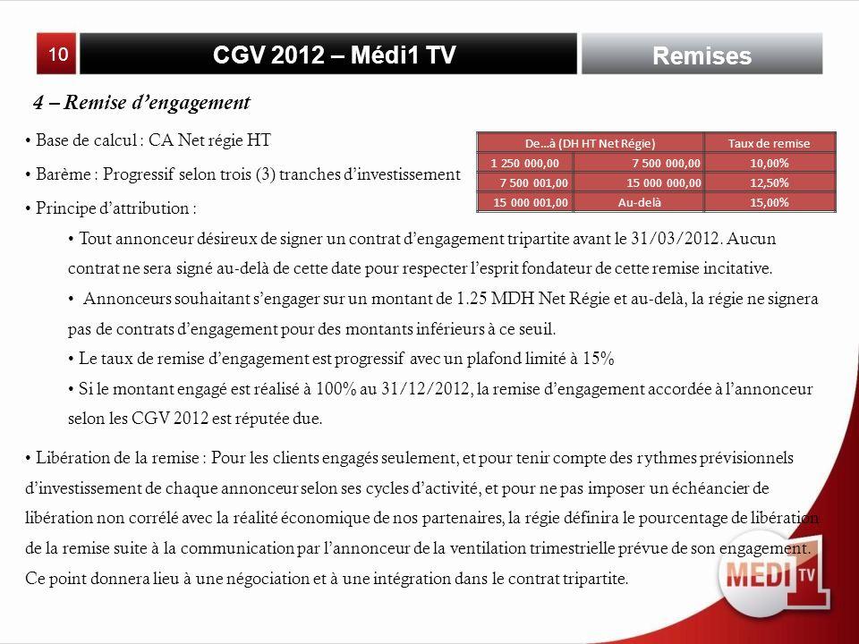 CGV 2012 – Médi1 TV Base de calcul : CA Net régie HT Remises 4 – Remise dengagement Barème : Progressif selon trois (3) tranches dinvestissement Principe dattribution : Tout annonceur désireux de signer un contrat dengagement tripartite avant le 31/03/2012.