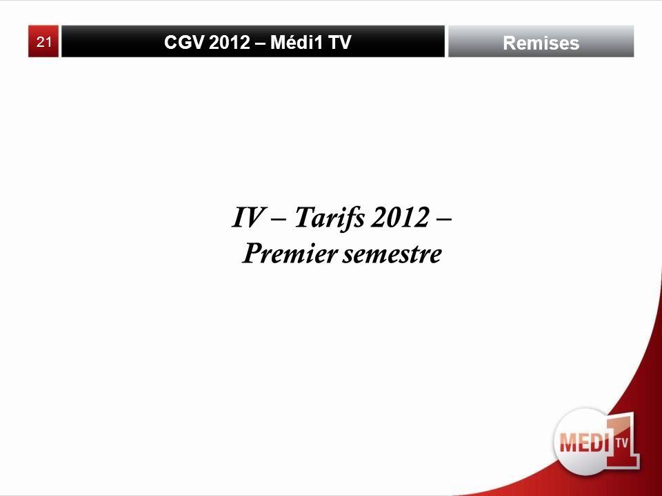 CGV 2012 – Médi1 TV Remises IV – Tarifs 2012 – Premier semestre 21