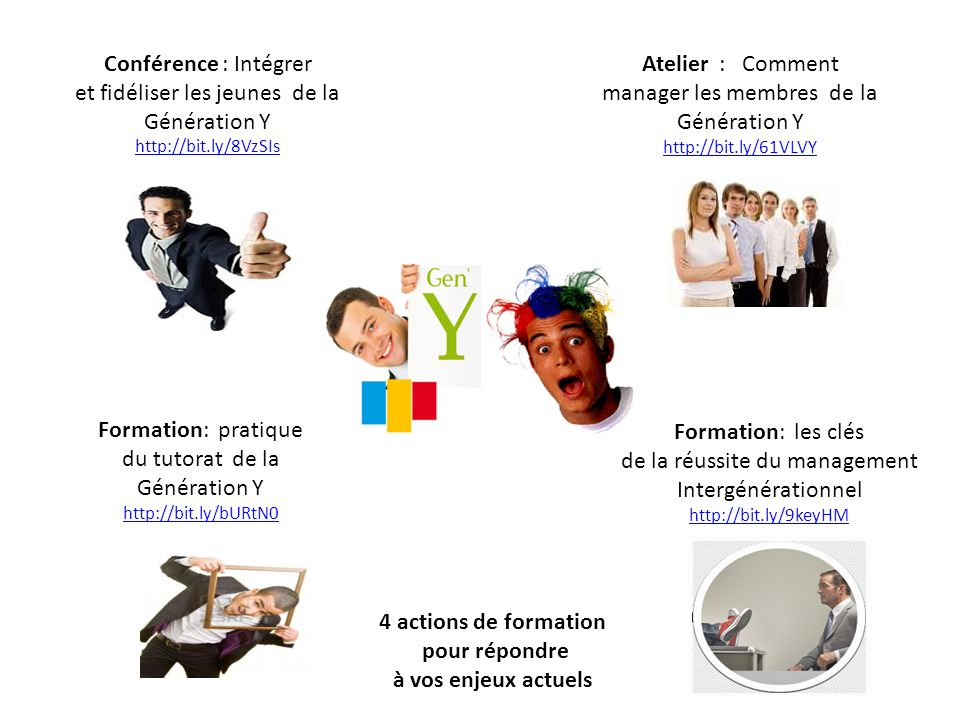 Conférence : Intégrer et fidéliser les jeunes de la Génération Y http://bit.ly/8VzSIs http://bit.ly/8VzSIs Atelier : Comment manager les membres de la