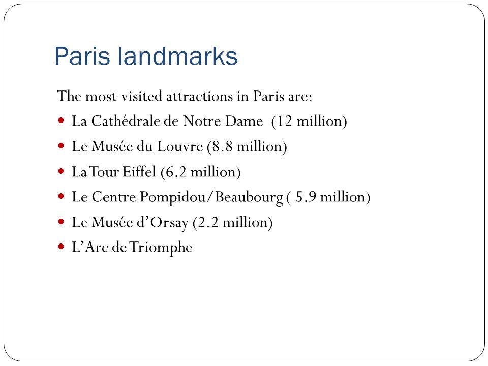 Paris landmarks The most visited attractions in Paris are: La Cathédrale de Notre Dame (12 million) Le Musée du Louvre (8.8 million) La Tour Eiffel (6