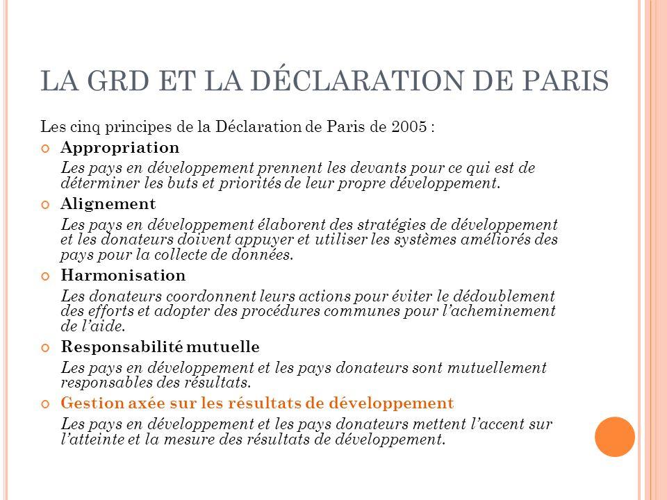 LA GRD ET LA DÉCLARATION DE PARIS Les cinq principes de la Déclaration de Paris de 2005 : Appropriation Les pays en développement prennent les devants