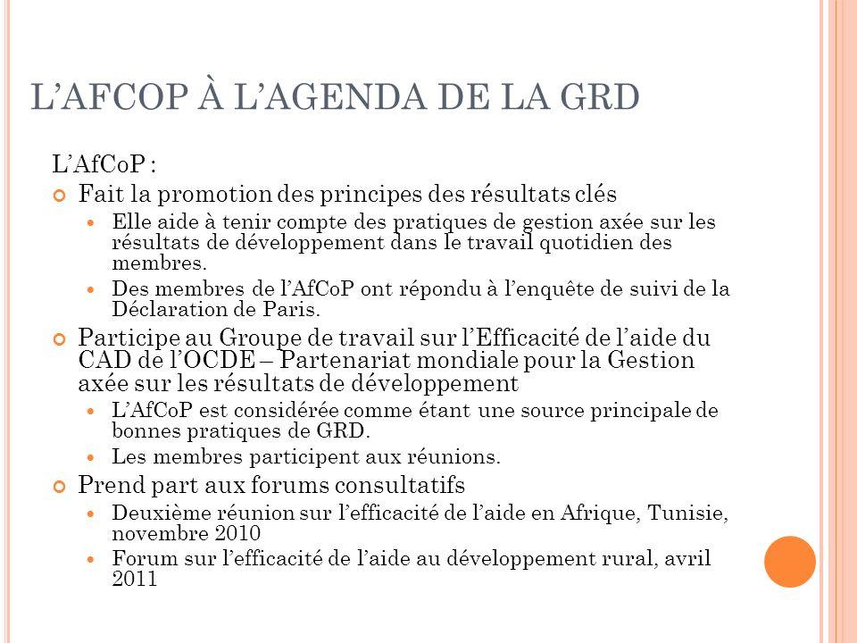 LAFCOP À LAGENDA DE LA GRD LAfCoP : Fait la promotion des principes des résultats clés Elle aide à tenir compte des pratiques de gestion axée sur les