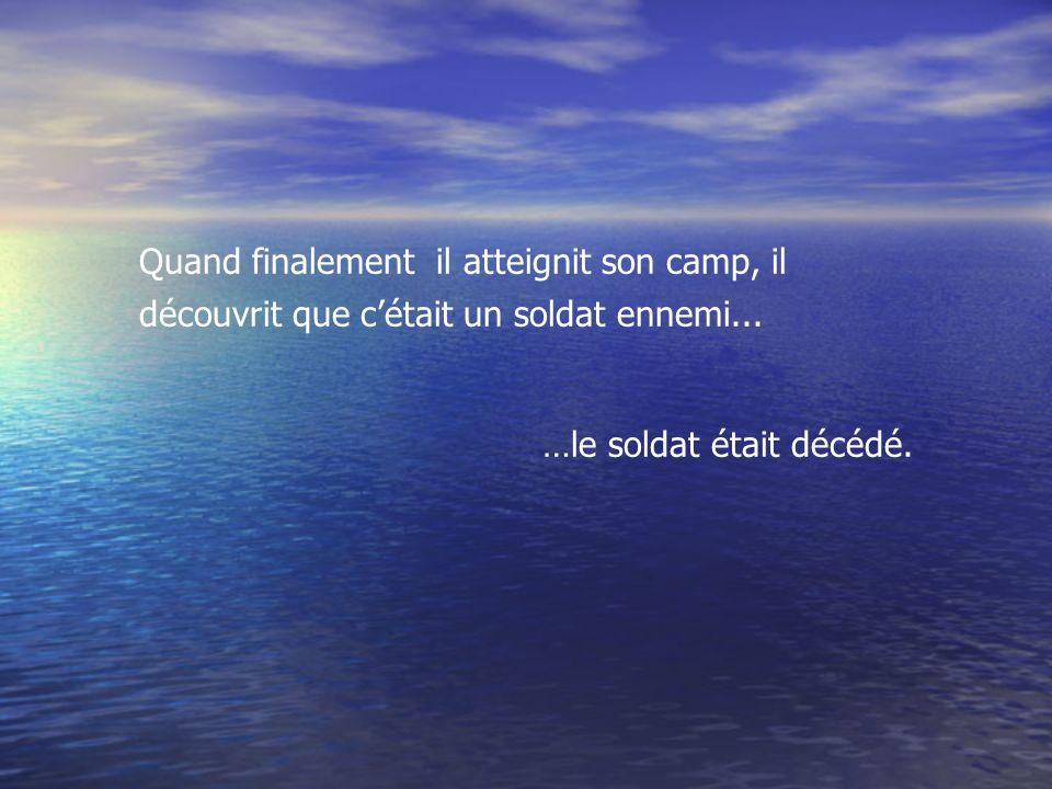 Durant la nuit, le Capitaine Ellicombe entendit les gémissement dun soldat grièvement blessé.