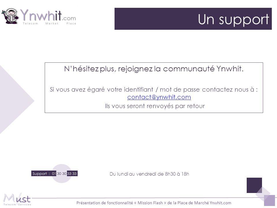 Présentation de fonctionnalité « Mission Flash » de la Place de Marché Ynwhit.com Un support Du lundi au vendredi de 8h30 à 18h Nhésitez plus, rejoign