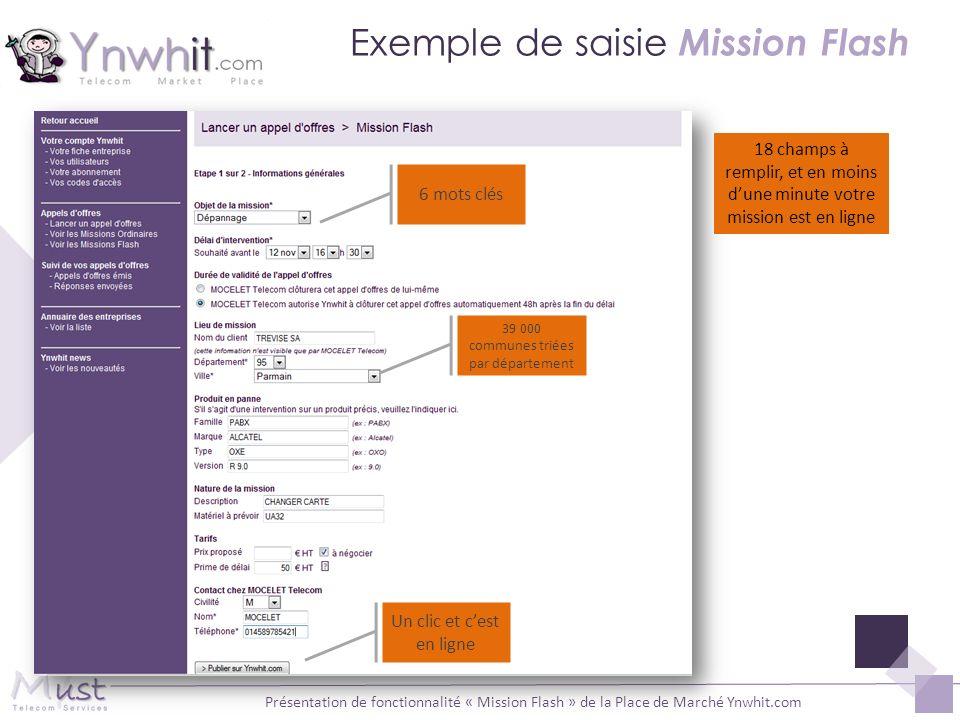 Présentation de fonctionnalité « Mission Flash » de la Place de Marché Ynwhit.com Exemple de saisie Mission Flash 39 000 communes triées par départeme